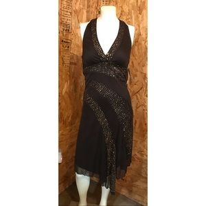 RAMPAGE Brown Dress with Gold Sequins SIZE SMALL